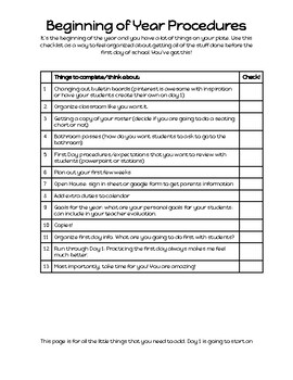 Beginning of Year Procedures Checklist