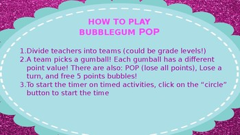 Beginning of Year Professional Development Bubble Gum Pop Game