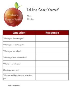 Beginning of Year Question Sheet