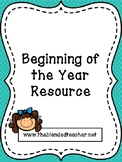 Beginning of Year Resources EDITABLE
