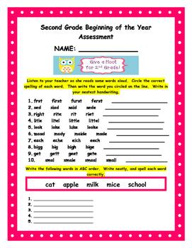 Beginning of Year Second Grade General Assessment