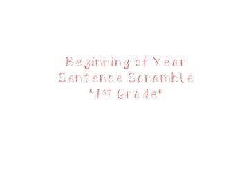 Beginning of Year Sentence Scramble