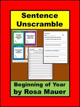 Beginning of Year Sentence Unscramble