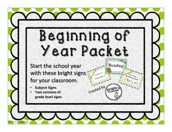 Beginning of Year Signs
