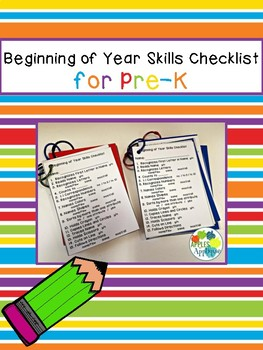 Beginning of Year Skills Checklist for Pre-K