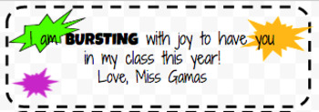 Beginning of Year Student Gift Labels