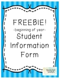Beginning of Year Student Information Card