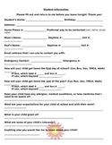Beginning of Year Student Information Sheet