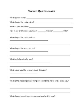 Beginning of Year Student Questionnaire