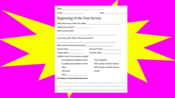 Beginning of Year Survey