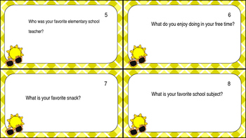 Beginning of Year Task Cards