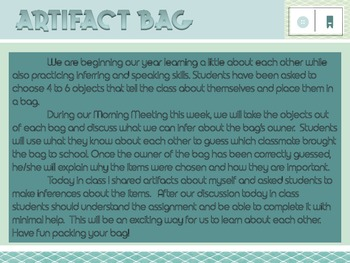 Beginning of Year Team Building Activity - Artifact Bag