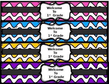 Back to School- Chevron Water Bottle Wrappers kindergarten- 5th Grade