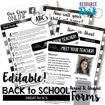 Beginning of Year Welcome Packet for Meet the Teacher - Black & White Easy Print