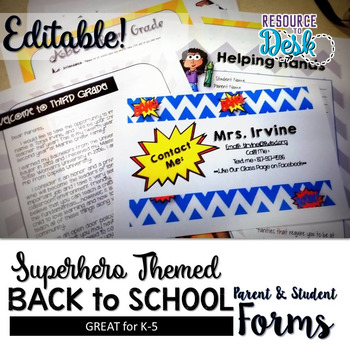 Beginning of Year Welcome Packet for Meet the Teacher - Superhero Themed
