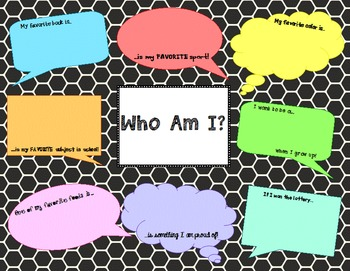 Beginning of Year: Who Am I? - Class Game or Display