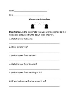 Beginning of Year Worksheets