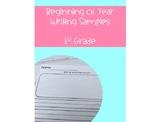Beginning of Year Writing Sample