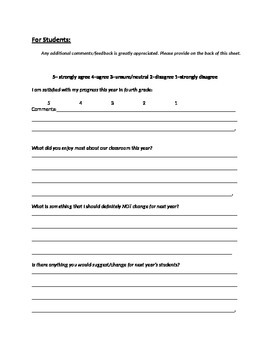 Beginning of Year and End of Year Classroom Surveys