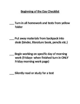 Beginning of the Day Checklist