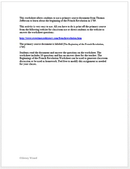 Beginning of the French Revolution: Thomas Jefferson Primary Source Worksheet