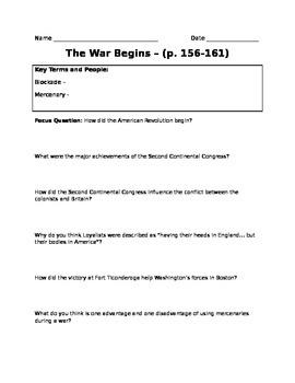 Beginning of the Revolutionary War Worksheet