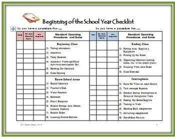 Beginning of the School Year Checklist for Teachers