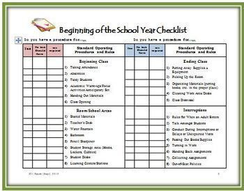 Beginning of the School Year  Checklist for Teachers - Get Your Classroom Ready!