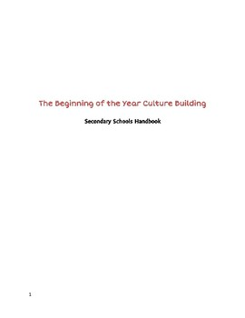 Beginning of the School Year Culture Building for the Secondary Classroom