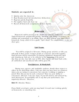 Beginning of the School Year Packet (rules expectations proceedures)