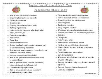 Beginning of the School Year Procedures FREEBIE