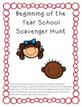 Beginning of the School Year Scavenger Hunt