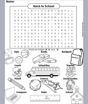Beginning of the Year Word Search/ First Day of School Worksheet