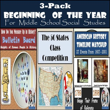 Beginning of the Year 3-Pack for Middle School Social Studies