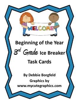 3rd Grade Beginning of the Year Ice Breaker Task Cards Get