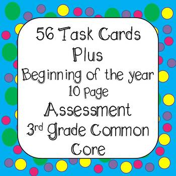 Back to School -  Beginning of the Year 4th Grade Task Cards & Assessment CCSS