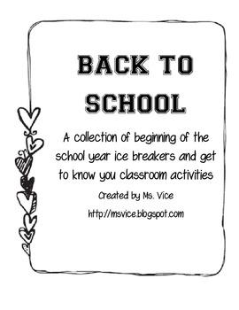 Beginning of the Year Activities Bundle