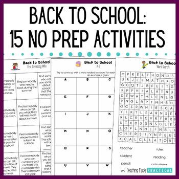 Beginning of the Year Activities: No Prep