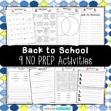 Beginning of the Year Activities - No Prep Back to School Time Fillers