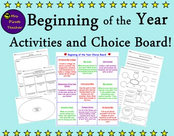 Beginning of the Year Activities and Choice Board!