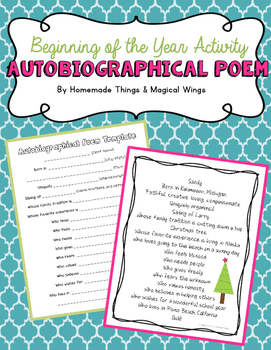 Beginning of the Year Activity: Autobiographical Poem {3rd -8th}