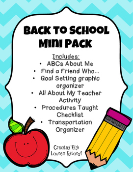 Beginning of the Year Activities Mini Packet