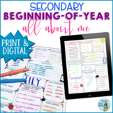 Beginning of Year (Back to School) All About Me for Secondary Students EDITABLE