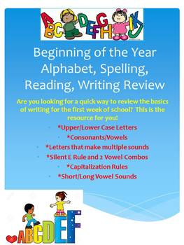 Beginning of the Year Alphabet, Spelling, Reading, Writing Review