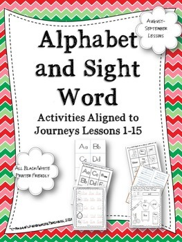Beginning of  the Year Alphabet and Sight Word Activities Aligned With Journeys