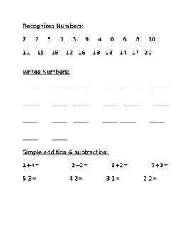 Math Beginning of the Year Assessment!