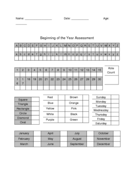 Beginning of the Year Assessment