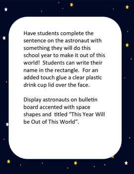 Beginning of the Year Astronaut Bulletin Board Lesson