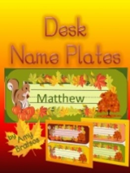 Beginning of the Year Autumn Desk Name Plates