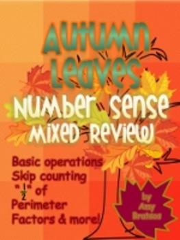 "3rd & 4th Grade Autumn Theme ""Number Sense"" Math Review Ac"